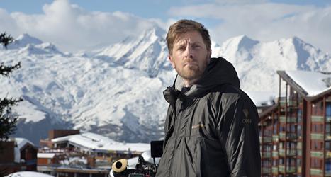 Ruben Östlund under inspelningen av filmen Turist. Foto: Staffan Löwstedt/TT.