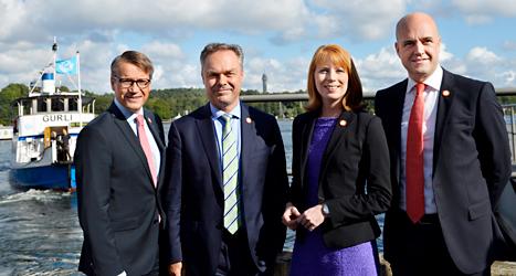 Ledarna för Alliansens fyra partier berättade på måndagen om sina förslag. Foto: TT