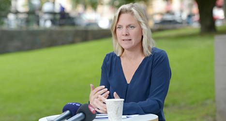 Magdalena Andersson berättade om Socialdemokraternas nya förslag. Foto: TT