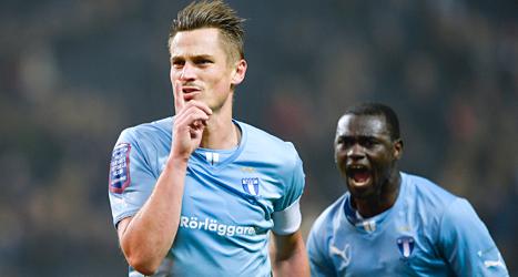 Markus Rosenberg gjorde segermålet när Malmö vann mot AIK.Foto: Anders Wiklund/TT.
