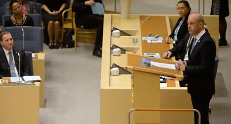 På onsdagen pratade Frerik Reinfeldt i riksdagen för sista gången. Foto: Jessica Gow /TT