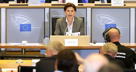 Alenka Bratusek får inte ta hand om miljöfrågorna i EUs regering EU-kommissionen. Foto: Yves Logghe/TT.