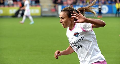 Marta gjorde mål när Rosengård vann i Champions League. Foto: Conny Sillén/TT