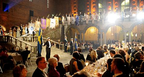 Bilden är från Nobelfesten i Stockholms stadshus. Foto: Henrik Montgomery/TT.
