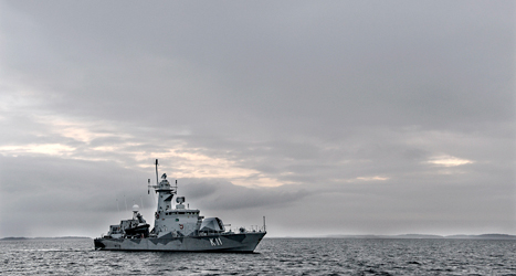 En svensk krigsbåt i Stockholms skärgård. Foto: Fredrik Persson/TT.