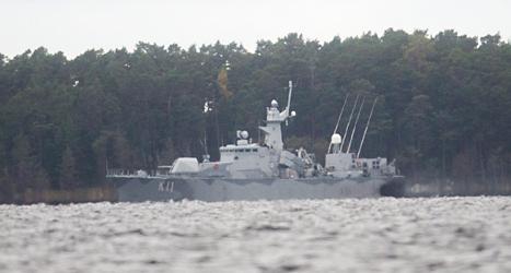Ett svenskt krigsfartyg i Stockholms skärgård. Foto: Fredrik Sandberg/TT.