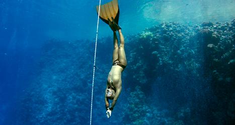 Annelie Pompe slog rekord i dykning. Foto: Gaspar Gerry-Gendre/TT.