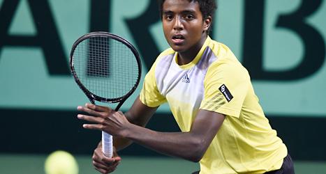 Elias Ymer vann den avgörande matchen i Sveriges match i Davis Cup. Foto: Mikael Fritzon/TT.