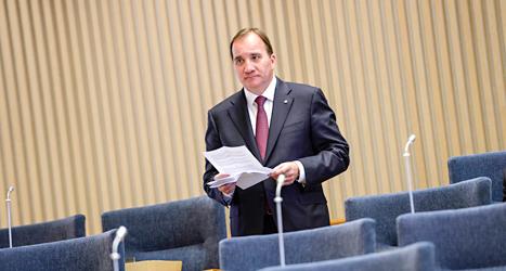 Nu är det dags. Politikerna i riksdagen ska rösta ja eller nej till Stefan Löfven som ny statsminister. Foto: TT