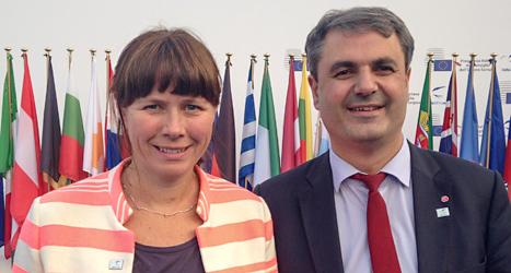Miljöminister Åsa Romson och energiminister Ibrahim Baylan på möte i Italien. Foto: TT