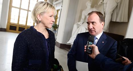 Utrikesminister Margot Wallström och statsminister Stefan Löfven är överens om att Palestina ska räknas som ett eget land. Foto: TT