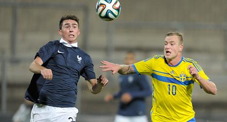 John Guidetti i en match mot Frankrike med Sveriges U21-lag. Foto: Björn Lindgren/TT.