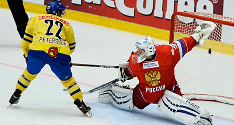 Tre Kronor vann mot Ryssland i ishockey. Foto: Claudio Bresciani/TT.
