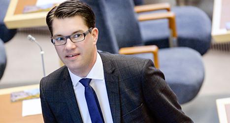 Sverigedemokraternas ledare Jimmie Åkesson är sjukskriven. Foto: Janerik Henriksson/TT.