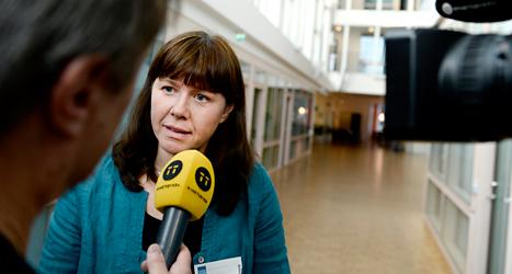 Miljöminister Åsa Romson blir intervjuad av en journalist. Foto: TT