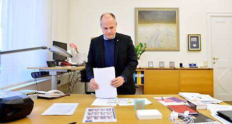 Justitieminister Morgan Johansson på sitt kontor. Foto: TT