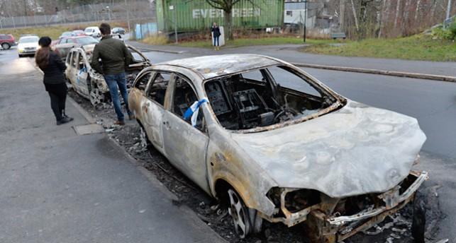 En bränd bil.