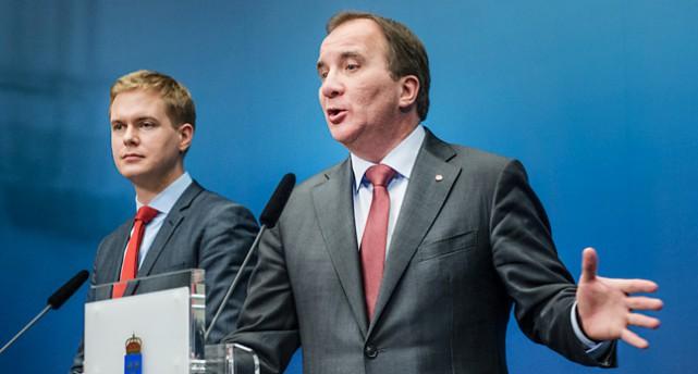 Miljöpartiets ledare Gustav Fridolin och Socialdemokraternas ledare Stefan Löfven