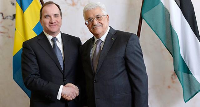 Stefan Löfven och Mahmud Abbas.