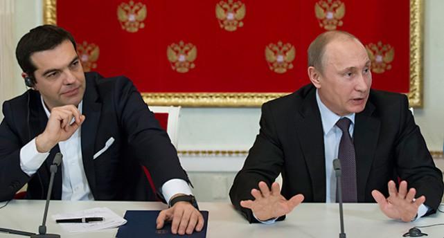 Greklands ledare Tsipras träffar Rysslands ledare Putin.