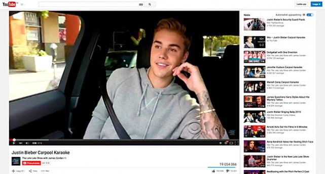 Bild på Justin Bieber på Youtube.