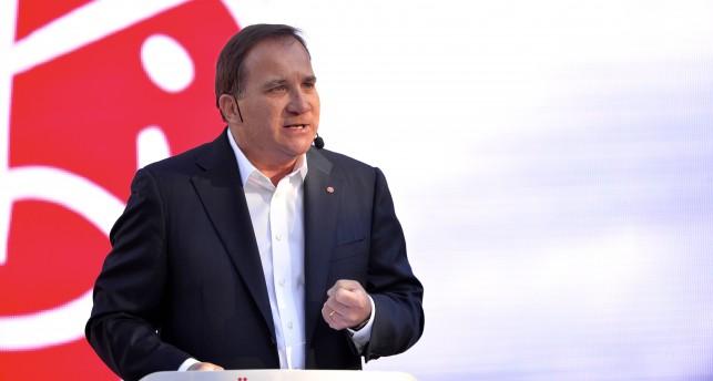 Socialdemokraternas ledare Stefan Löfven pratade i parken Almedalen på Gotland.