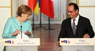Tysklands ledare Angela Merkel och Frankrikes ledare Francois Hollande
