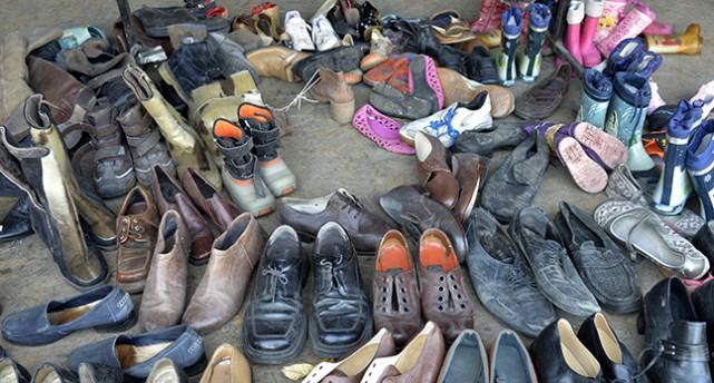 Inslamade skor.