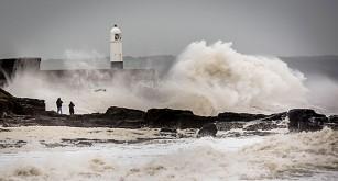 Storm på hav utanför södra Wales.