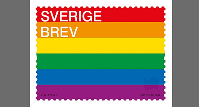 Frimärket med regnbågsflaggan