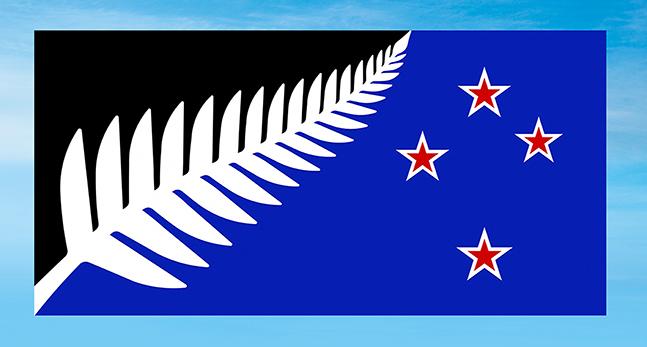 Den nya flaggan är ett löv av en ormbunke i vitt och tre röda stjärnor på blå och svart botten.