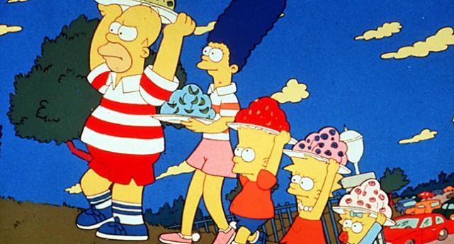 Homer, Marge, Bart, Lisa och Maggie i familjen Simpson.