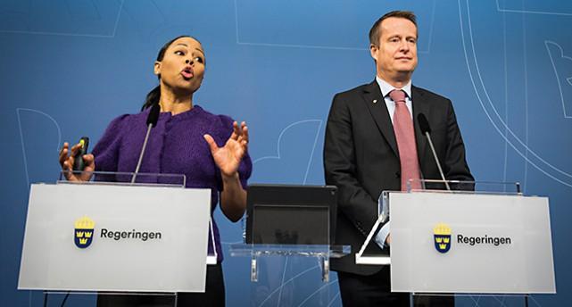 Ministrarna Alice Bah Kuhnke och Anders Ygeman