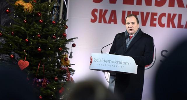 Statsminister Stefan Löfven håller tal.