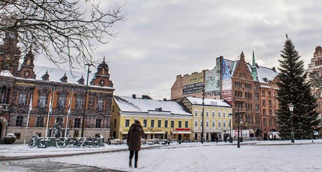 Torget i Malmö med en rad hus. Rådhuset är i rött tegel med mycket utsmyckningar.