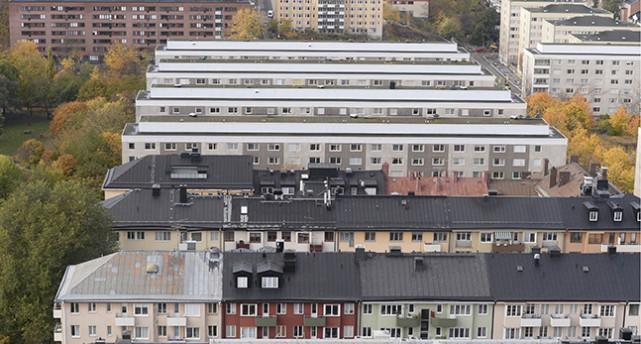 En bild från himlen över hustak i Stockholm.