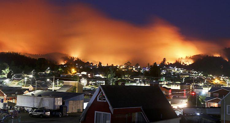 Det brinner i landet Chile