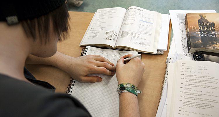 En elev sitter och räknar i en bok