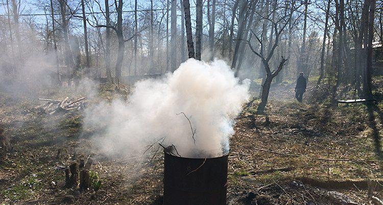 Det brinner i en tunna vid en skog.