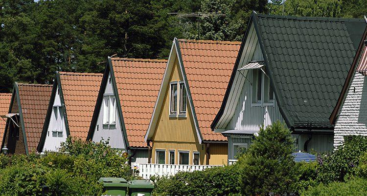 Radhus i olika färger