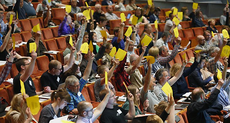 Många håller upp handen och röstar