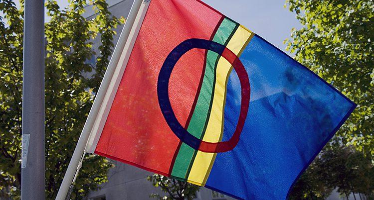 En flagga i rött, grönt, gult och blått med en cirkel ovanpå