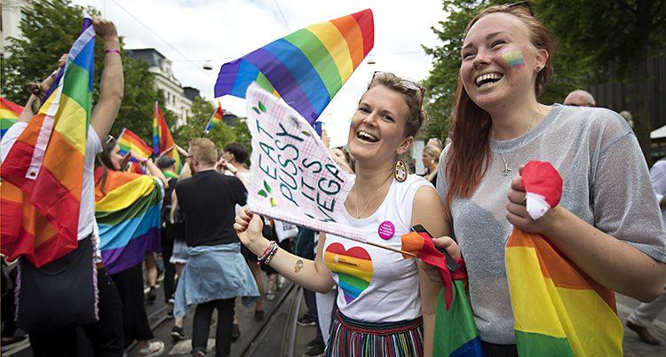 Glada personer och regnbågsflaggor