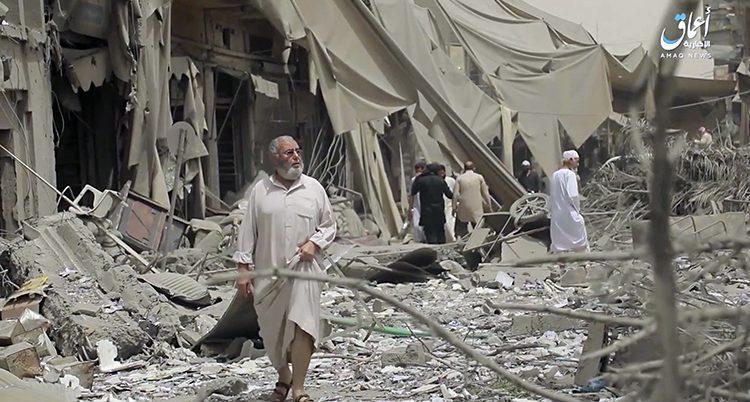 En man i staden Raqqa