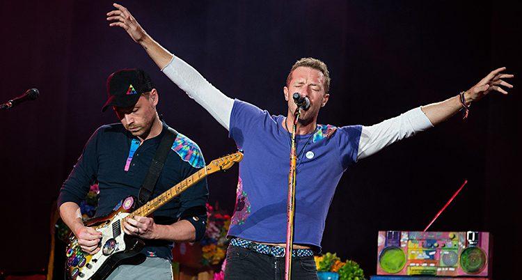 Coldplay på scen.