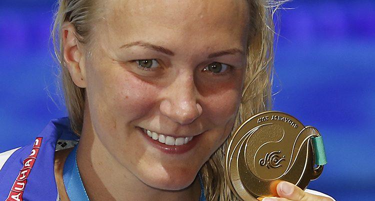 Sarah Sjöström med guldmedaljen