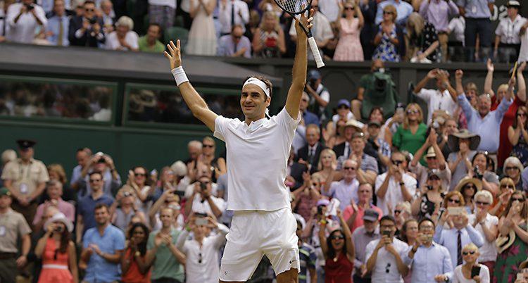 Roger Federer jublar