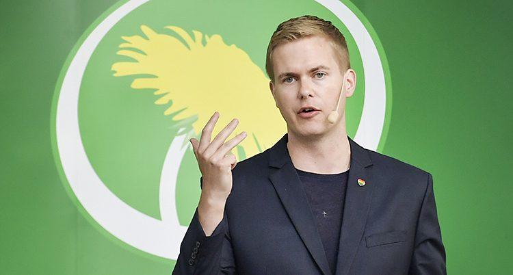 Gustav Fridolin framför en grön vägg med partiets symbol - en maskros
