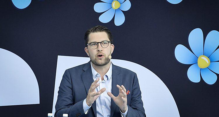 Jimmie Åkesson står bakom en vägg med partiets symbol, blå blommor.