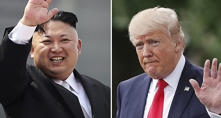 Nordkoreas ledare Kim Jong-Un och USAs president Donald Trump.
